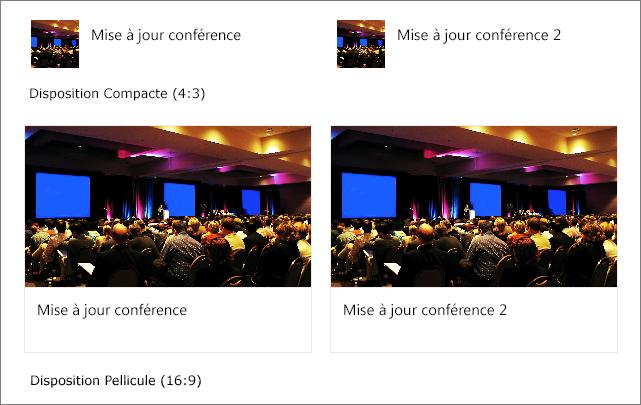 Exemples d'images dans les mises en page de liens rapides