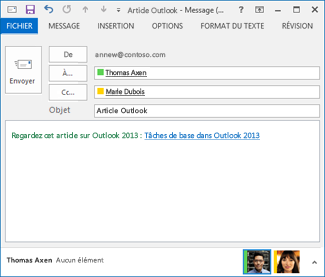 Texte de lien révisé dans un courrier électronique