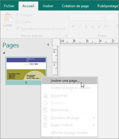 Insérer une page dans le volet Navigation entre les pages dans Publisher.