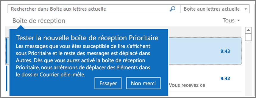 Une image illustrant l'apparence de la boîte de réception Prioritaire lorsqu'elle est déployée pour vos utilisateurs et qu'Outlook est rouvert.