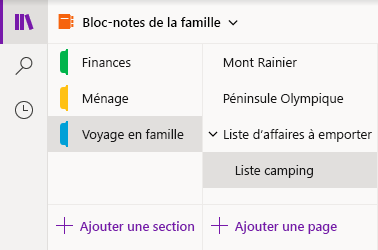 Interface de navigation dans OneNote pour Windows 10
