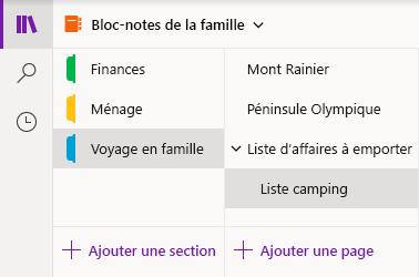 Interface de navigation dans OneNote pour Windows10
