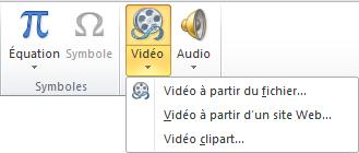 Bouton du ruban pour insérer une vidéo en ligne dans PowerPoint2010