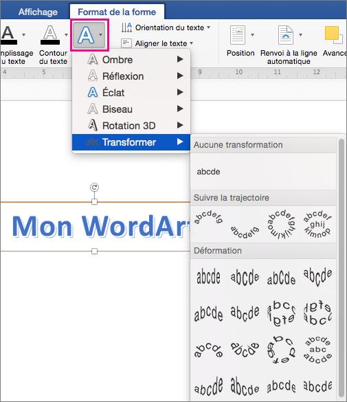Option Effets du texte mise en évidence sous l'onglet Format de la forme