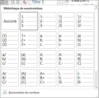 Capture d'écran de l'option de liste numérotée dans le menu Accueil.