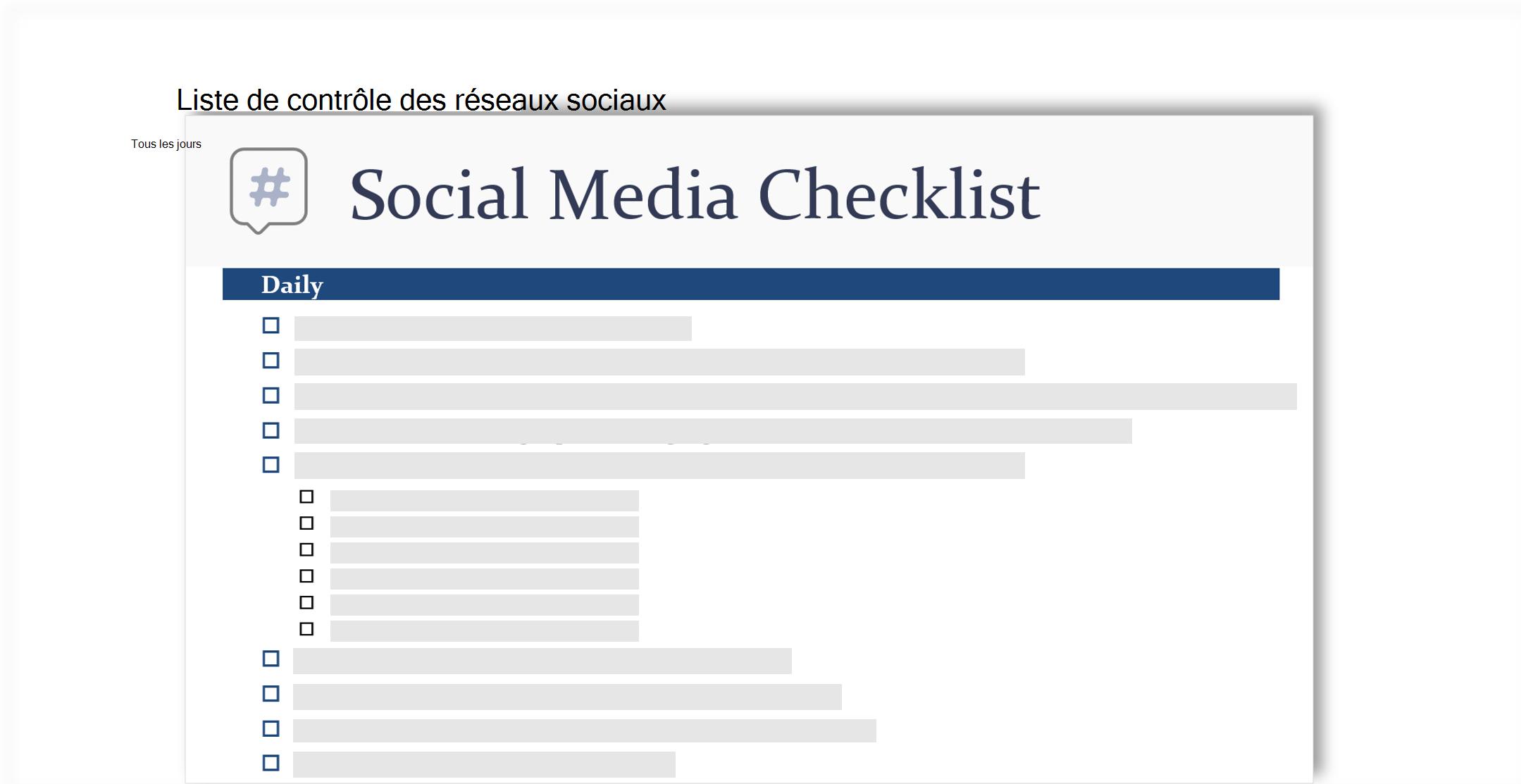image conceptuelle d'une liste de vérification de médias sociaux