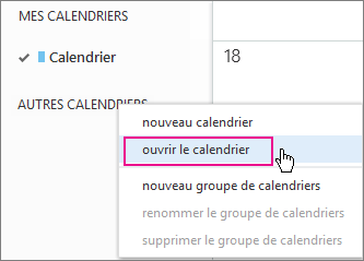Menu Ouvrir le calendrier d'Outlook Web App