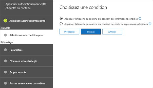 Choisissez la page de condition pour l'étiquette d'application automatique