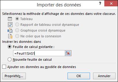 Dans la boîte de dialogue Importer des données, choisissez de placer les données dans une feuille de calcul existante (paramètre par défaut) ou dans une nouvelle feuille de calcul