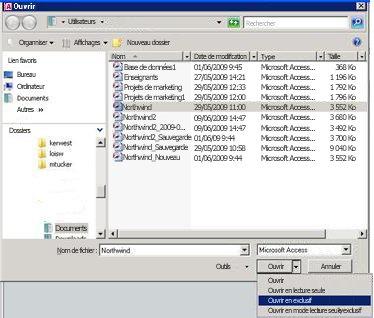 Option permettant d'ouvrir une base de données en mode exclusif
