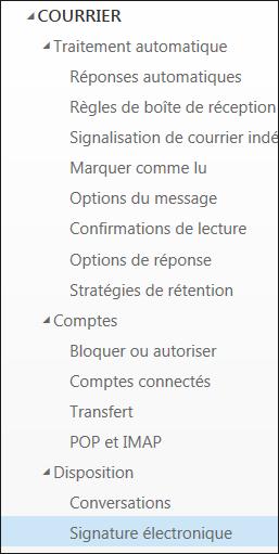 Outlook sur le web - Signature électronique