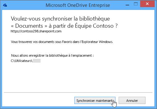 Sélectionnez le bouton Synchroniser maintenant pour démarrer la synchronisation des fichiers entre votre site d'équipe et votre ordinateur de bureau.