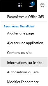 Menu paramètres avec l'option informations sur le site sélectionnée