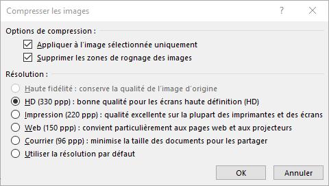 Boîte de dialogue Compresser les images