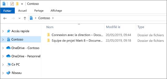 Capture d'écran montrant les dossiers de synchronisation pour OneDrive et les sites
