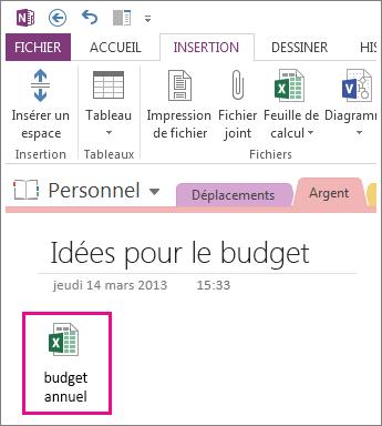 Insérer un fichier Excel existant