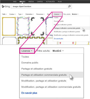 Rechercher une image clipart de bordure à l'aide du filtre de licence
