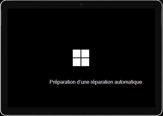 Écran noir avec le logo Windows et le texte « Préparation d'une réparation automatique ».