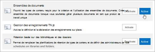 Exemples de fonctionnalités de collection de sites theSite que vous pouvez rendre active pour SharePoint