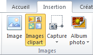 La commande images ClipArt sous l'onglet Insertion du ruban dans PowerPoint 2010