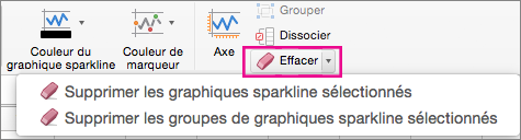 Sous l'onglet Conception de graphique sparkline, sélectionner Effacer