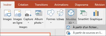 Utilisez Insérer > Modèles3D pour ajouter des objets3D à votre présentation