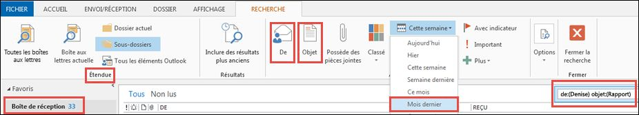 Exemple d'options des outils de recherche