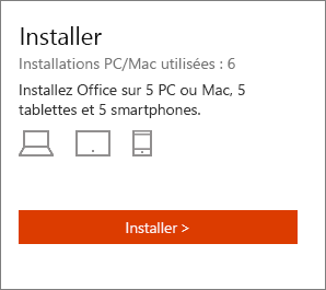 Section Installer de la page Mon compte Office.