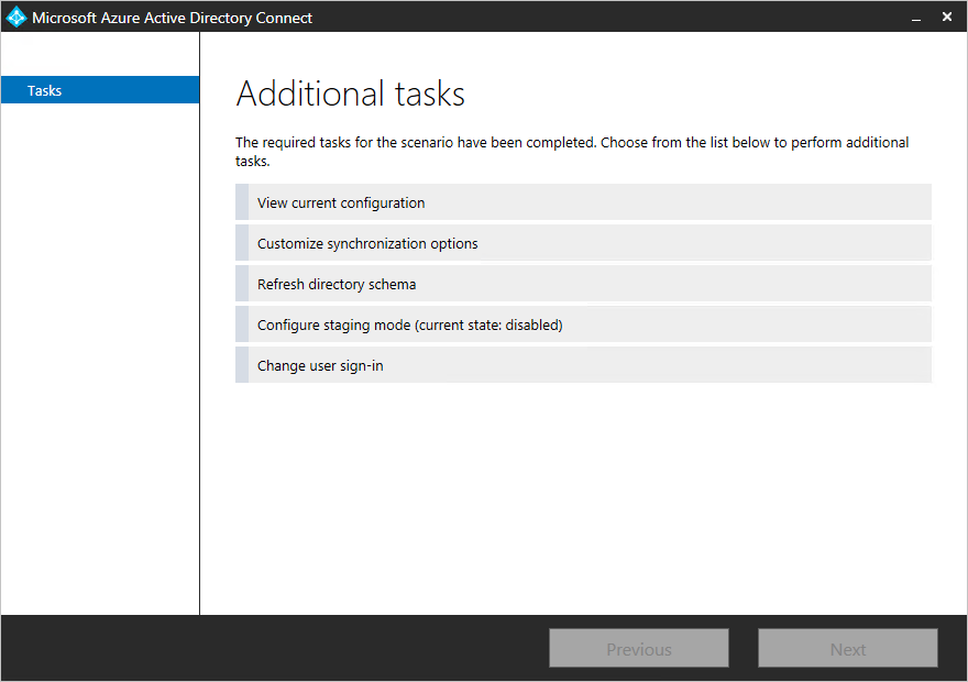Azure AD Connect -View current configuration
