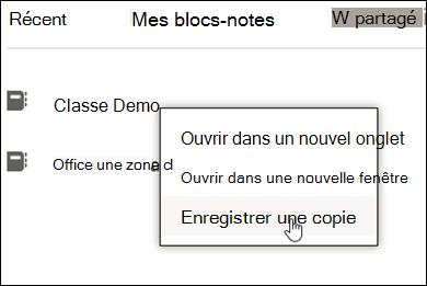 Cliquez avec le bouton droit sur Bloc-notes de cours, cliquez sur «Enregistrer une copie»