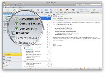 Outlook avec plusieurs comptes dans une seule boîte de réception