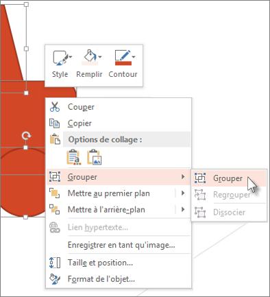Sélectionner et grouper les objets sur une diapositive