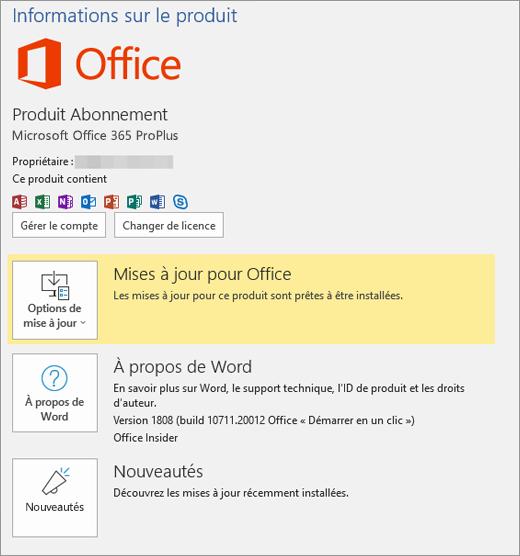 Affiche le mode Backstage d'Office 365