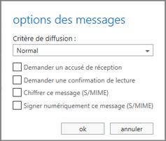 Afficher les options de message