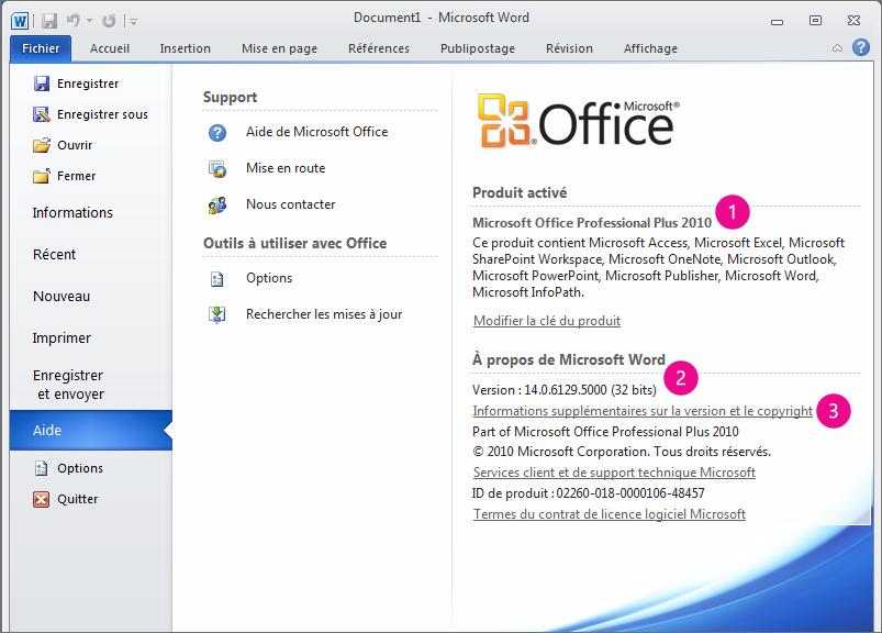 Informations sur le produit apparaissant suite à un clic sur Fichier > Aide dans Word2010