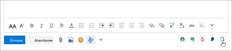 Capture d'écran de la zone inférieure d'un message électronique, sous la zone corps, avec le curseur en pointant sur l'icône Mes modèles à l'extrême droite.
