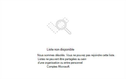 Capture d'écran montrant le message d'erreur liste indisponible