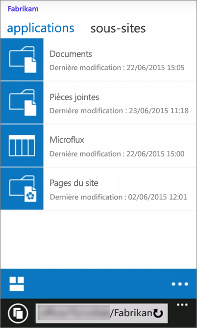 Capture d'écran de l'affichage mobile d'un site SharePoint Server 2016