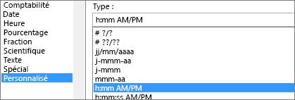 Boîte de dialogue Format de cellule, commande personnalisée, type h:mm AM/PM