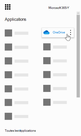 Lanceur d'applications Office 365 avec l'application OneDrive en surbrillance