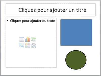 Diapositive avec deux espaces réservés et deux objets distincts