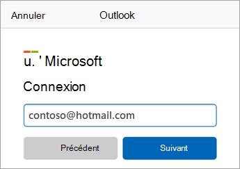 Entrez l'adresse de courrier Outlook.com