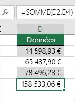 Utilisez la fonction SOMME au lieu de valeurs codées de manière irréversible dans les formules.  La formule incluse dans la cellule D5 est =SOMME(D2:D4)