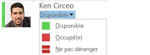 Capture d'écran de la liste déroulante de changement de présence avec liste de sélections partielle