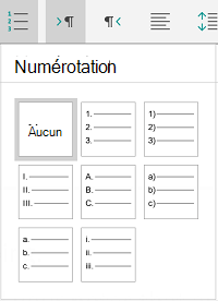 Options de numérotation