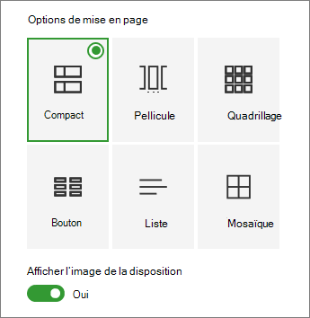 Options de disposition des liens rapides