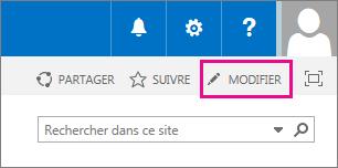 Capture d'écran de l'icône de modification dans la page d'accueil de votre site d'équipe