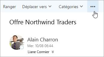 Capture d'écran du bouton autres commandes dans la barre de menus Outlook.