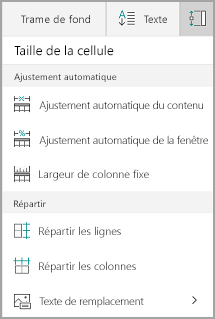 Options d'ajustement automatique de Windows Mobile
