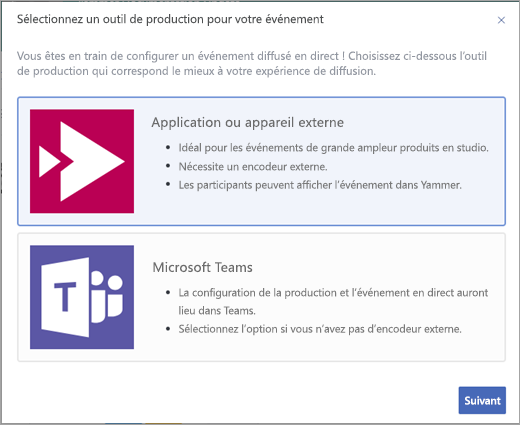 Options de production d'événements en direct Yammer